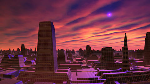 Dawn and UFO over the city of aliens Animation