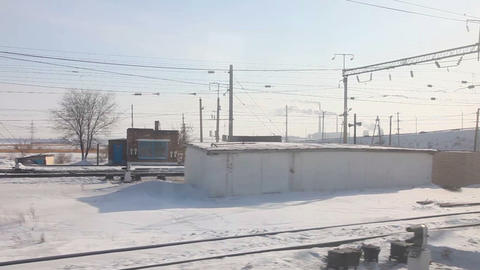 Winter railroad panorama Stock Video Footage