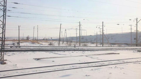 Winter railroad panorama Footage