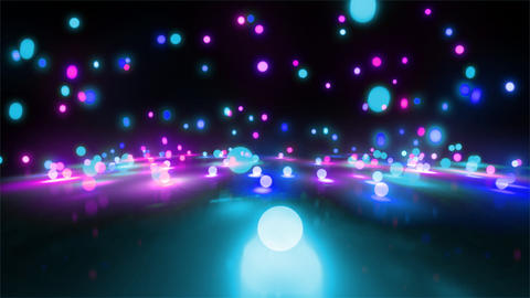 blue color tone light balls falling Stock Video Footage