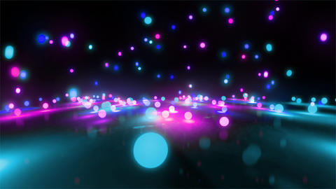 blue color tone light balls falling CG動画素材