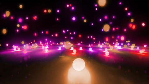 pink color tone light balls falling CG動画