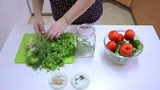 Bottom Jar With The Fresh Dill And Parsley stock footage