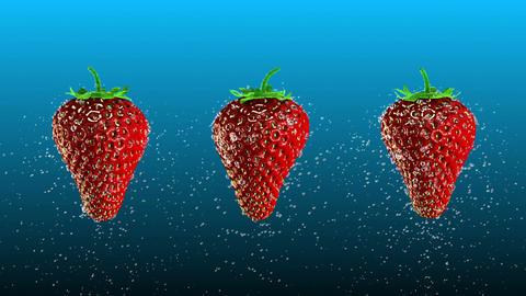 Fresh Strawberries with Water Drops Loop Stock Video Footage
