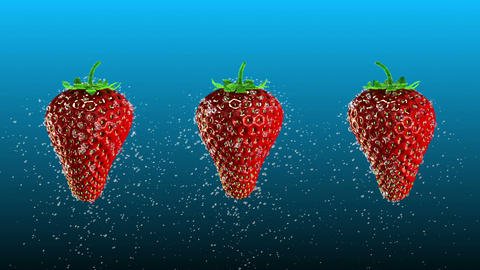 Fresh Strawberries with Water Drops Loop Animation