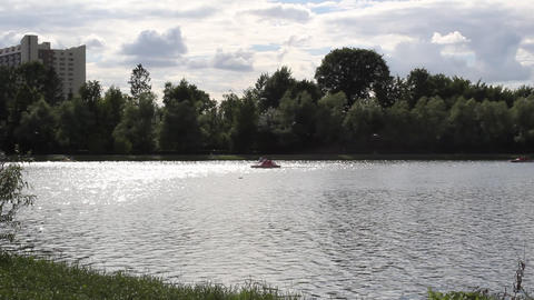 Catamaran on the lake Stock Video Footage