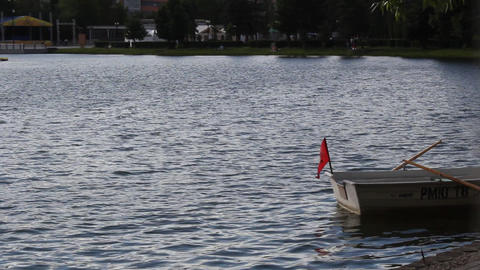 Red flag on a boat Stock Video Footage