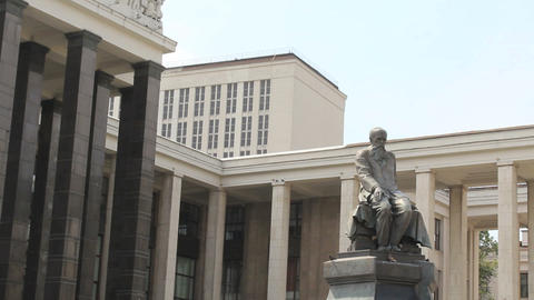 Dostoevsky Statue at Lenin Library Stock Video Footage