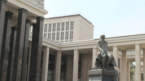 Dostoevsky Statue at Lenin Library Footage