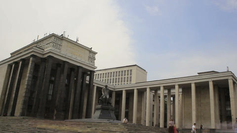 Dostoevsky Statue at Lenin Library Timelapse Stock Video Footage
