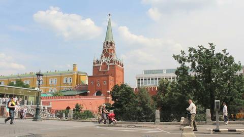 Troitskaya Tower of Moscow Kremlin Stock Video Footage