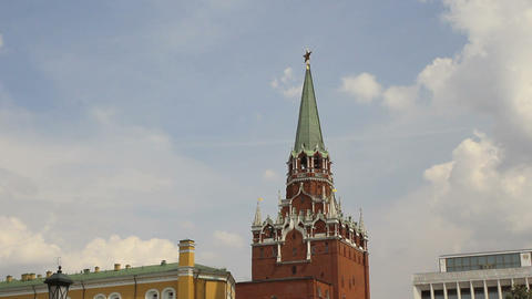 Troitskaya Tower Of Moscow Kremlin Timelapse stock footage