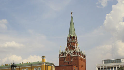 Troitskaya Tower of Moscow Kremlin Timelapse Stock Video Footage