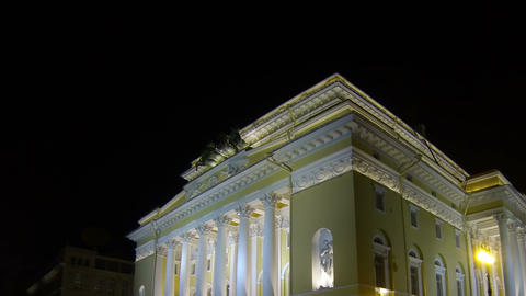 Alexandrinsky theatre in Saint-Petersburg Night Stock Video Footage