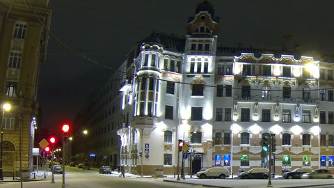 Austrian square in Petersburg Night Stock Video Footage