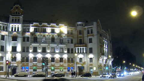 Austrian square in Petersburg Night Stock Video Footage