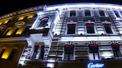 Old house on Nevsky Prospekt in St. Petersburg Nig Stock Video Footage
