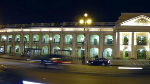 Gostiny Dvor in St. Petersburg Night Stock Video Footage