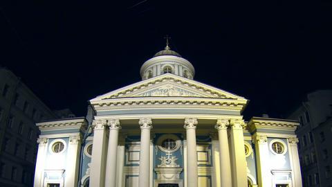 Armenian Church in St. Petersburg Night Stock Video Footage