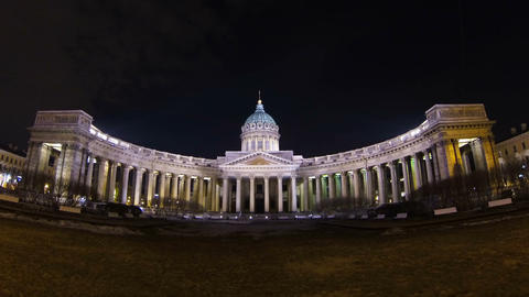 The Kazan cathedral in St. Petersburg Night Stock Video Footage