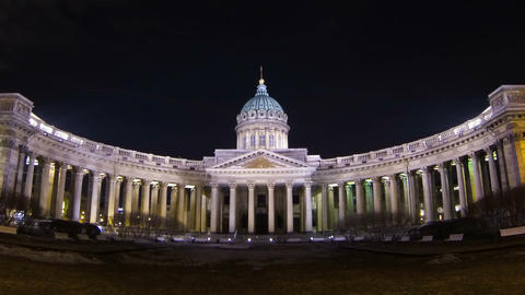 The Kazan cathedral in St. Petersburg Night Footage