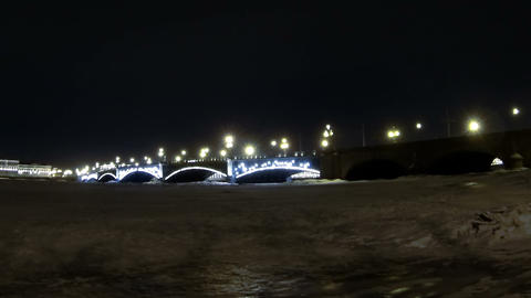Trinity bridge in St. Petersburg Night Stock Video Footage