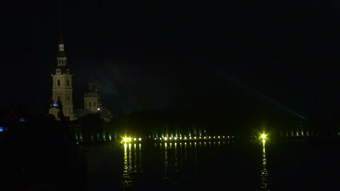 Peter and Paul fortress in St. Petersburg Night Stock Video Footage