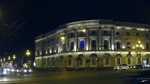 Public library in St. Petersburg Night Stock Video Footage