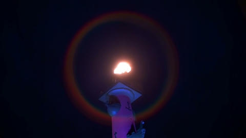 The torch at the Rostral column in St. Petersburg Stock Video Footage