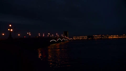 Diluted Troitsky bridge in St. Petersburg Night Stock Video Footage