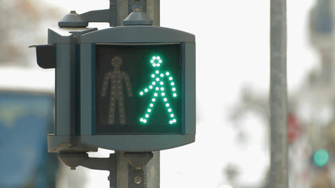 Pedestrians signal Stock Video Footage