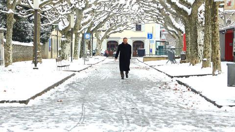 Pedestrians in snow Footage