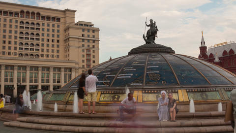 Walk on Manezhnaya Square in Mosocw hyperlapse Stock Video Footage