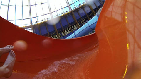 The water slide in the water Park Footage