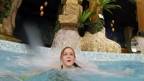 Girl bathing in the water Park Stock Video Footage
