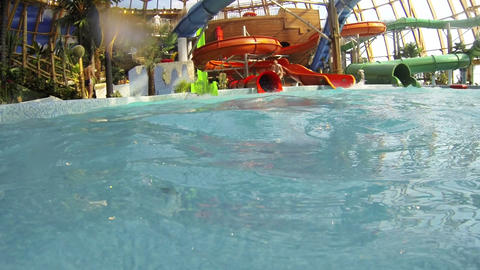 Little girl bathing in the water Park Footage