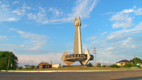 Astrakhan. Entry sign on the highway Stock Video Footage