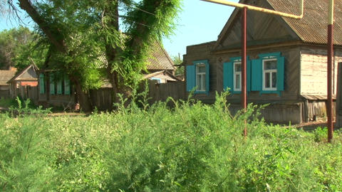 Wooden houses in the village Stock Video Footage