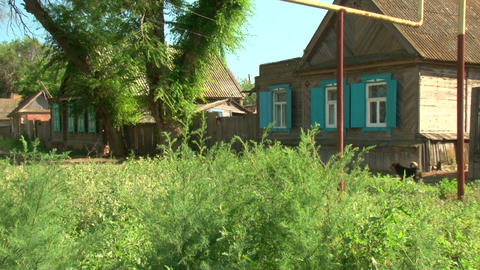 Wooden houses in the village Footage