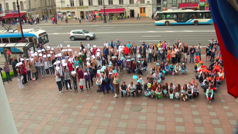 Flashmob in St. Petersburg Footage
