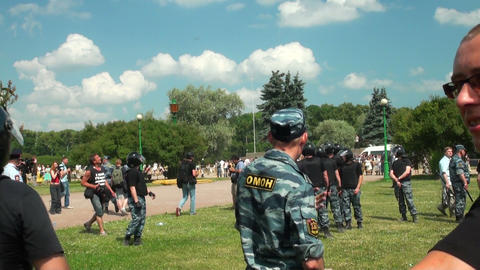 Police at the rally Stock Video Footage