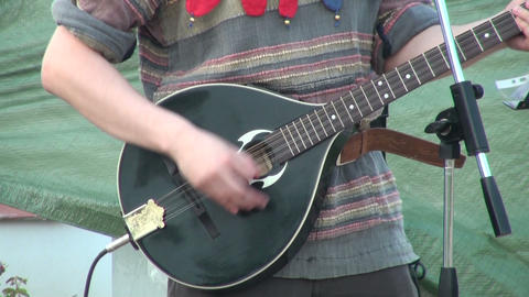 Guitarist playing in the street Stock Video Footage