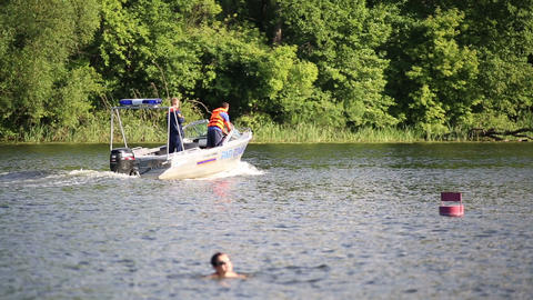 The boat with the rescuers floating on a river Footage