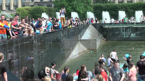 A crowd of people drenched in water Stock Video Footage