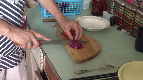 Cutting knife red onion Stock Video Footage