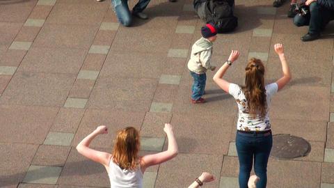 Little boy dancing in the street Stock Video Footage