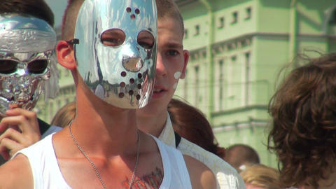 A young man in the mirror mask Stock Video Footage