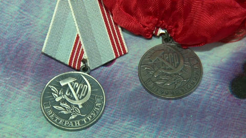 Veteran of labour medal Stock Video Footage