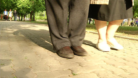 The Legs Of The Two Older Men stock footage