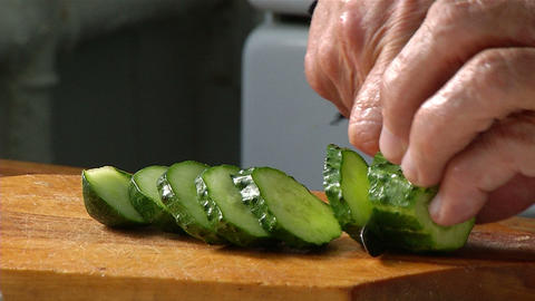 Cutting knife cucumber Footage